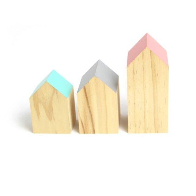 Træhuse til dekoration, 3 stk.